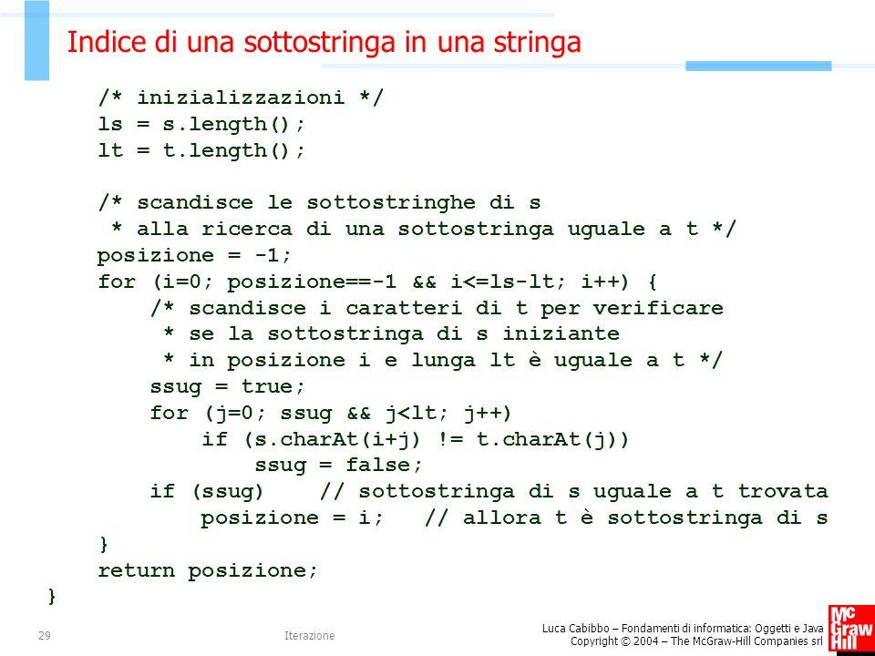 Luca Cabibbo – Fondamenti di informatica: Oggetti e Java Copyright © 2004 – The McGraw-Hill Companies srl Iterazione29 Indice di una sottostringa in u