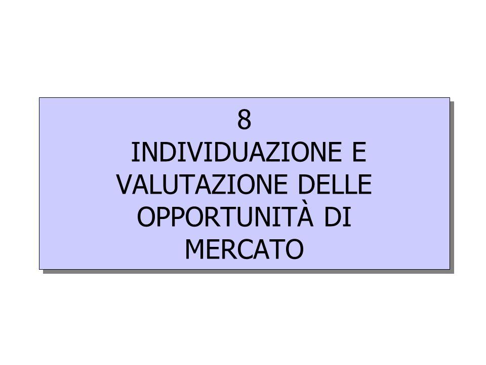 8 INDIVIDUAZIONE E VALUTAZIONE DELLE OPPORTUNITÀ DI MERCATO