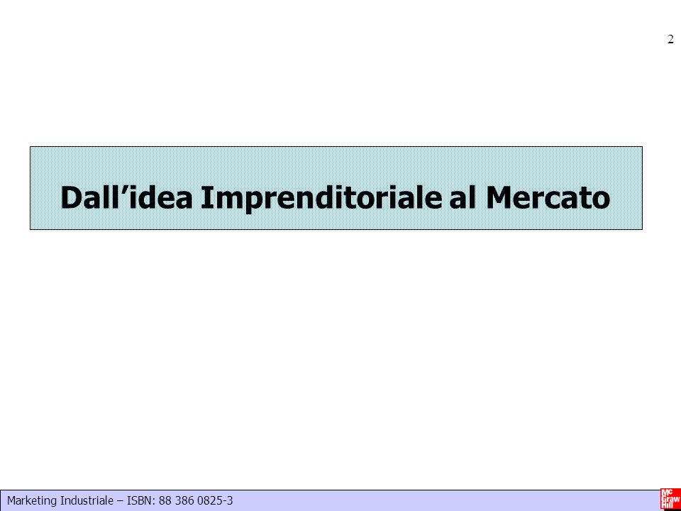 Marketing Industriale – ISBN: 88 386 0825-3 2 Dallidea Imprenditoriale al Mercato
