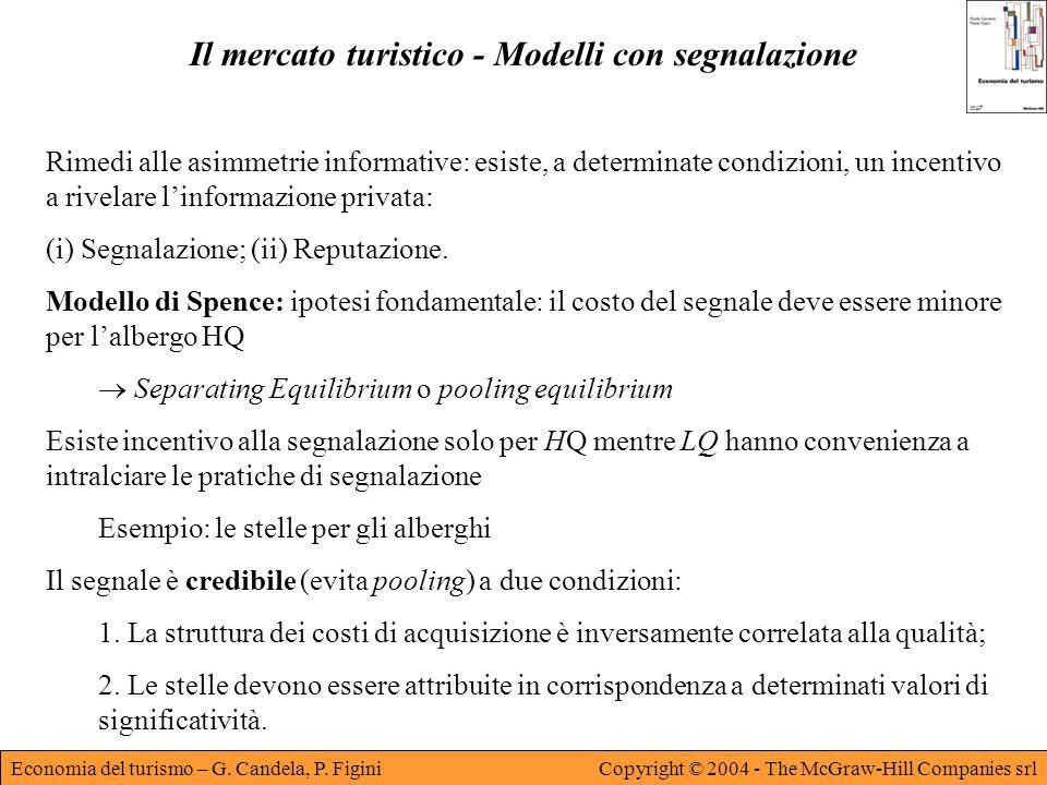Economia del turismo – G. Candela, P. FiginiCopyright © 2004 - The McGraw-Hill Companies srl Il mercato turistico - Modelli con segnalazione Rimedi al
