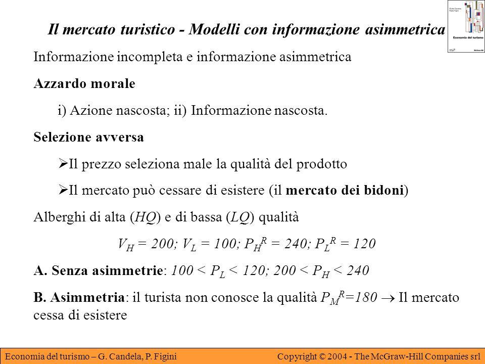 Economia del turismo – G. Candela, P. FiginiCopyright © 2004 - The McGraw-Hill Companies srl Il mercato turistico - Modelli con informazione asimmetri