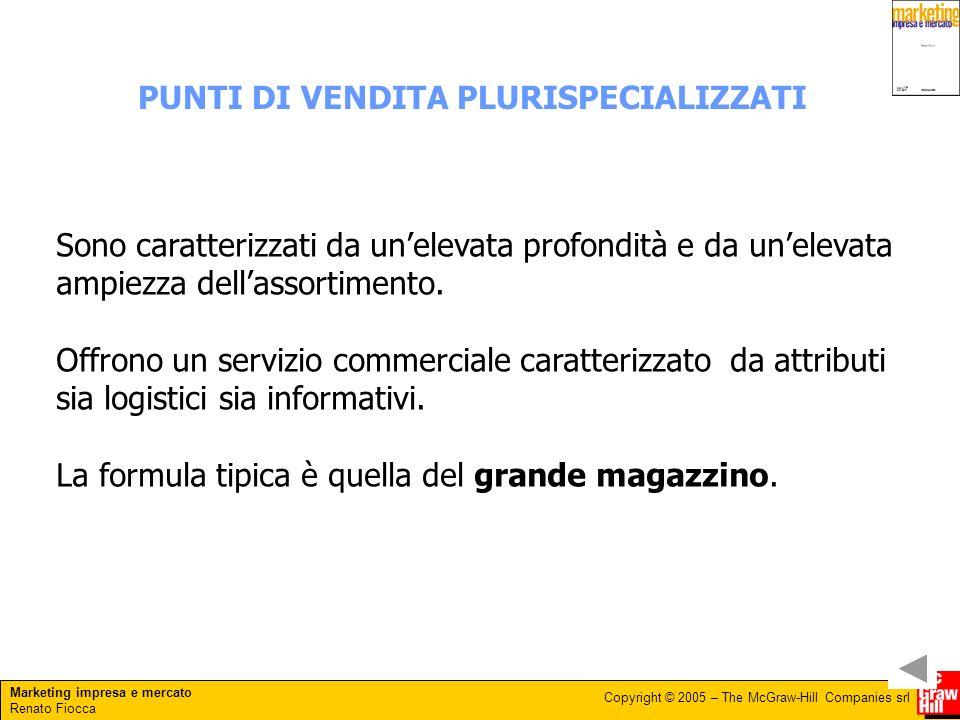Marketing impresa e mercato Renato Fiocca Copyright © 2005 – The McGraw-Hill Companies srl PUNTI DI VENDITA PLURISPECIALIZZATI Sono caratterizzati da