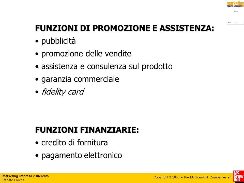 Marketing impresa e mercato Renato Fiocca Copyright © 2005 – The McGraw-Hill Companies srl FUNZIONI DI PROMOZIONE E ASSISTENZA: pubblicità promozione