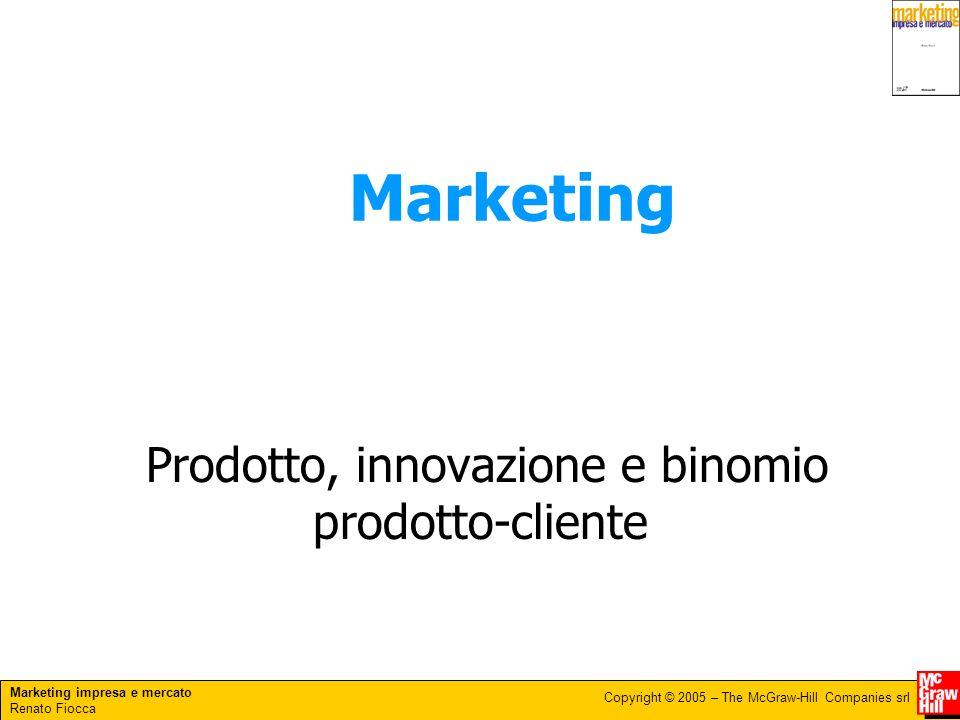 Marketing impresa e mercato Renato Fiocca Copyright © 2005 – The McGraw-Hill Companies srl Insieme di decisioni che riguardano linnovazione, lo sviluppo, la gestione, leliminazione dei prodotti.