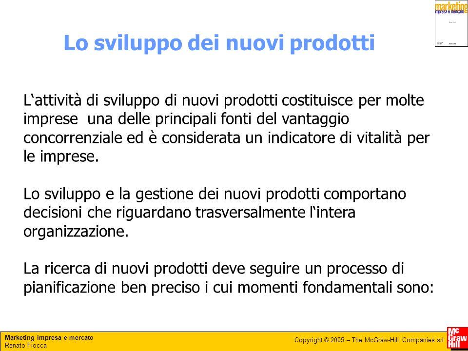 Marketing impresa e mercato Renato Fiocca Copyright © 2005 – The McGraw-Hill Companies srl Lo sviluppo dei nuovi prodotti Lattività di sviluppo di nuo