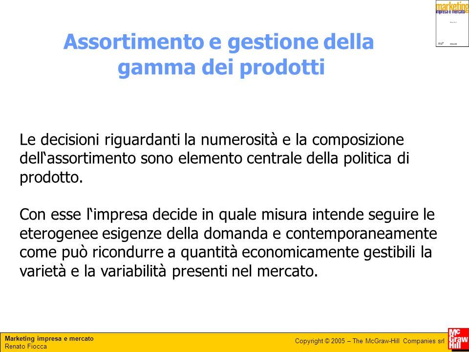 Marketing impresa e mercato Renato Fiocca Copyright © 2005 – The McGraw-Hill Companies srl Assortimento e gestione della gamma dei prodotti Le decisio