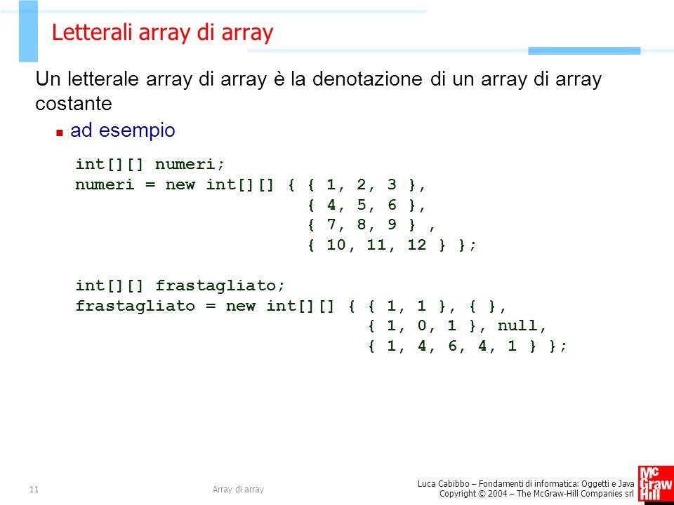 Luca Cabibbo – Fondamenti di informatica: Oggetti e Java Copyright © 2004 – The McGraw-Hill Companies srl Array di array11 Letterali array di array Un letterale array di array è la denotazione di un array di array costante ad esempio int[][] numeri; numeri = new int[][] { { 1, 2, 3 }, { 4, 5, 6 }, { 7, 8, 9 }, { 10, 11, 12 } }; int[][] frastagliato; frastagliato = new int[][] { { 1, 1 }, { }, { 1, 0, 1 }, null, { 1, 4, 6, 4, 1 } };