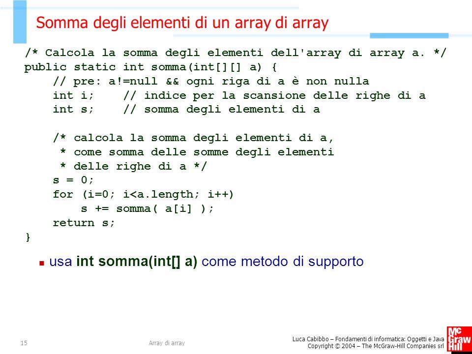 Luca Cabibbo – Fondamenti di informatica: Oggetti e Java Copyright © 2004 – The McGraw-Hill Companies srl Array di array15 Somma degli elementi di un array di array /* Calcola la somma degli elementi dell array di array a.