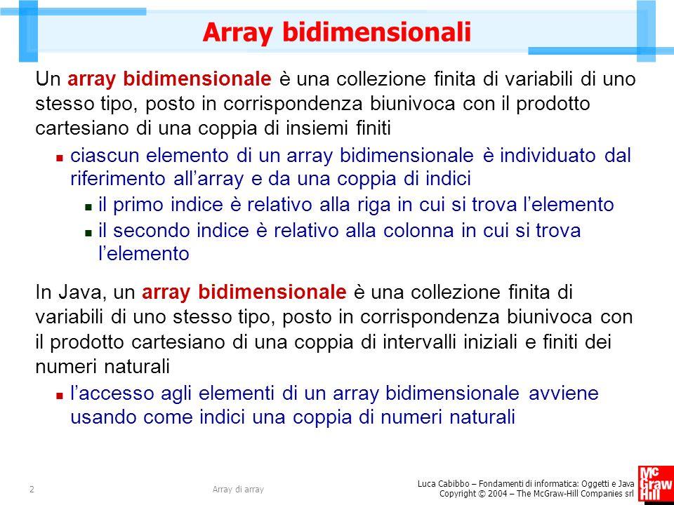 Luca Cabibbo – Fondamenti di informatica: Oggetti e Java Copyright © 2004 – The McGraw-Hill Companies srl Array di array2 Array bidimensionali Un array bidimensionale è una collezione finita di variabili di uno stesso tipo, posto in corrispondenza biunivoca con il prodotto cartesiano di una coppia di insiemi finiti ciascun elemento di un array bidimensionale è individuato dal riferimento allarray e da una coppia di indici il primo indice è relativo alla riga in cui si trova lelemento il secondo indice è relativo alla colonna in cui si trova lelemento In Java, un array bidimensionale è una collezione finita di variabili di uno stesso tipo, posto in corrispondenza biunivoca con il prodotto cartesiano di una coppia di intervalli iniziali e finiti dei numeri naturali laccesso agli elementi di un array bidimensionale avviene usando come indici una coppia di numeri naturali