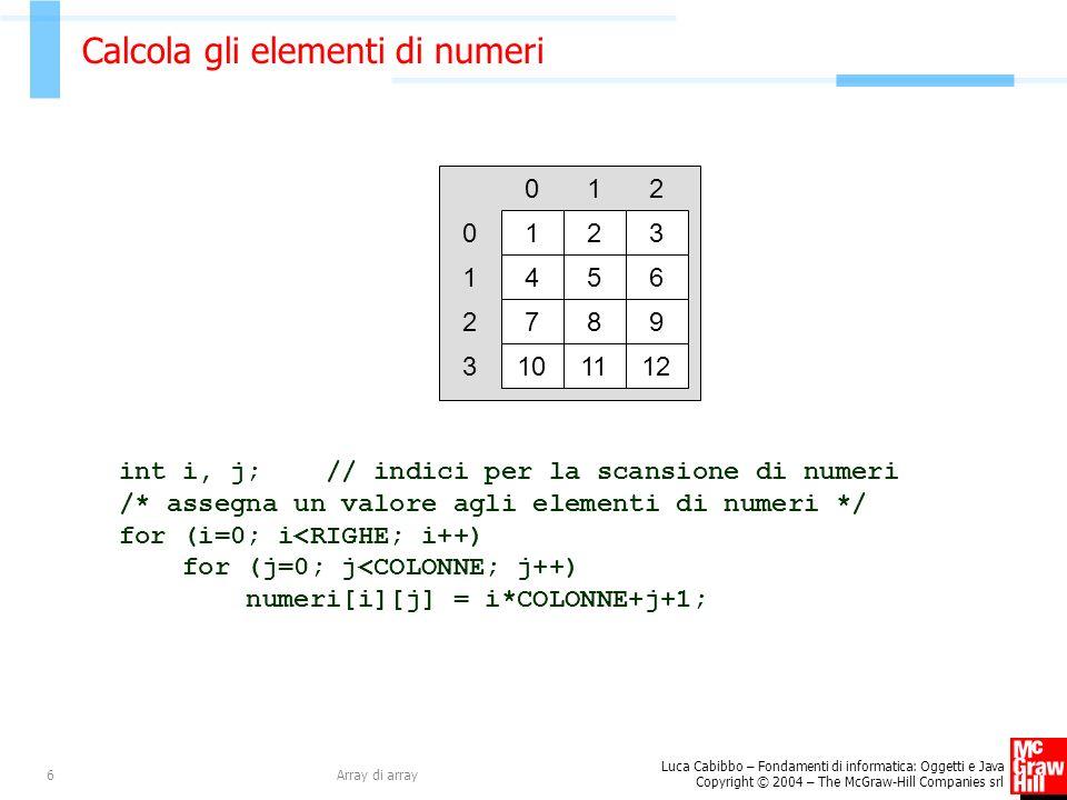 Luca Cabibbo – Fondamenti di informatica: Oggetti e Java Copyright © 2004 – The McGraw-Hill Companies srl Array di array6 Calcola gli elementi di numeri int i, j; // indici per la scansione di numeri /* assegna un valore agli elementi di numeri */ for (i=0; i<RIGHE; i++) for (j=0; j<COLONNE; j++) numeri[i][j] = i*COLONNE+j+1; 1 0 2 1 3 2 0 456 1 789 2 101112 3