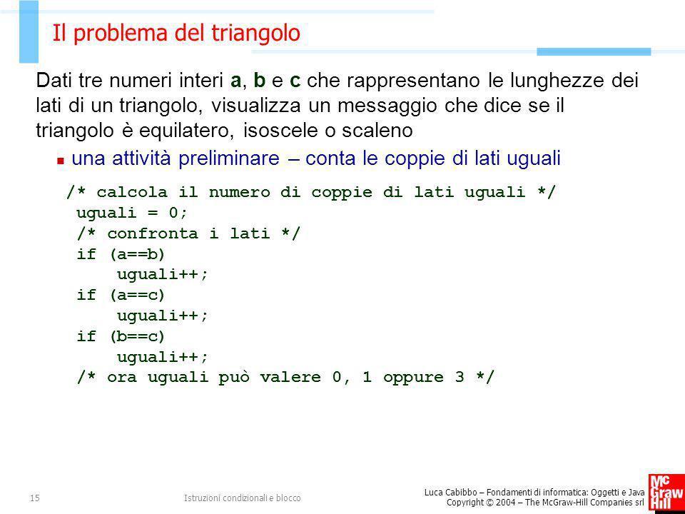 Luca Cabibbo – Fondamenti di informatica: Oggetti e Java Copyright © 2004 – The McGraw-Hill Companies srl Istruzioni condizionali e blocco15 Il proble