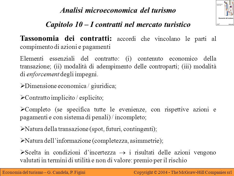 Economia del turismo – G. Candela, P. FiginiCopyright © 2004 - The McGraw-Hill Companies srl Analisi microeconomica del turismo Capitolo 10 – I contra
