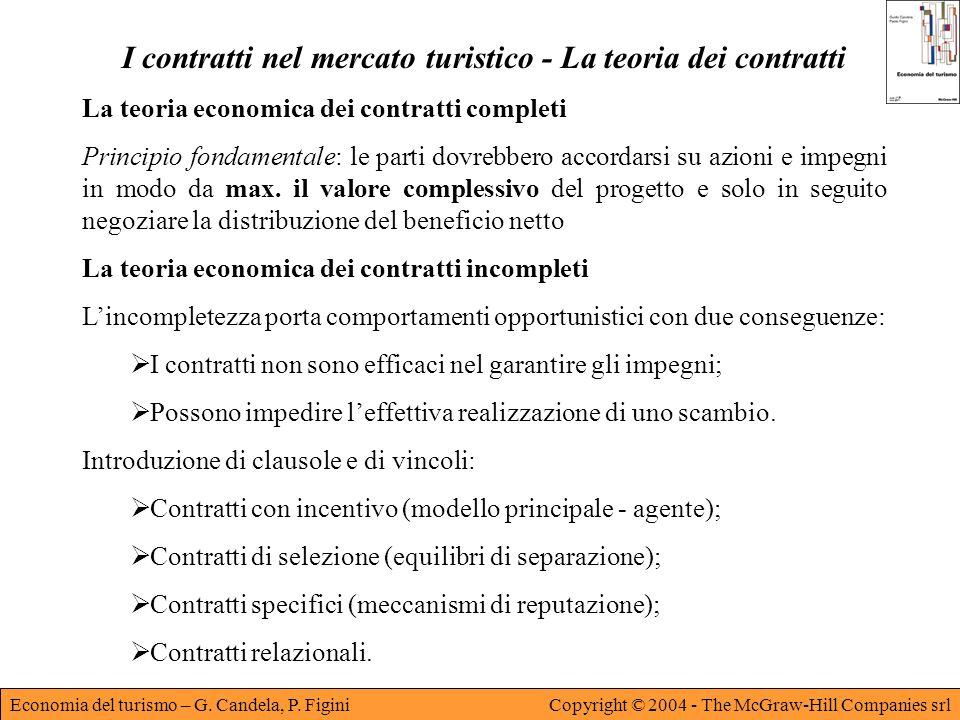 Economia del turismo – G. Candela, P. FiginiCopyright © 2004 - The McGraw-Hill Companies srl I contratti nel mercato turistico - La teoria dei contrat