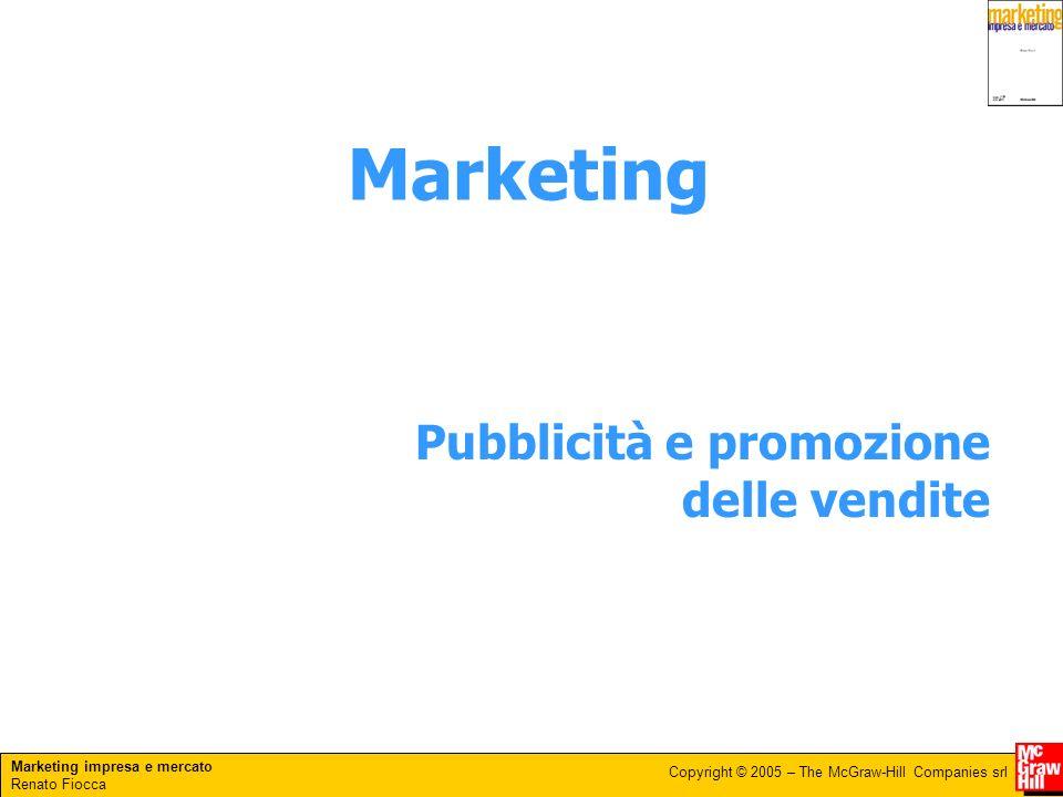 Marketing impresa e mercato Renato Fiocca Copyright © 2005 – The McGraw-Hill Companies srl Pubblicità e promozione delle vendite Marketing