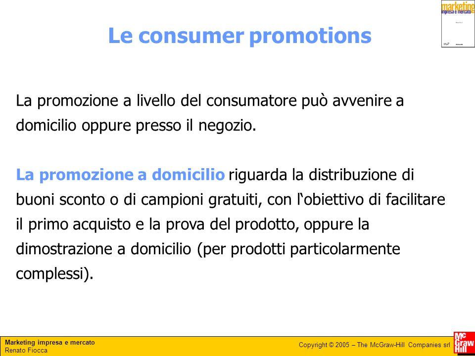 Marketing impresa e mercato Renato Fiocca Copyright © 2005 – The McGraw-Hill Companies srl Le consumer promotions La promozione a livello del consumatore può avvenire a domicilio oppure presso il negozio.