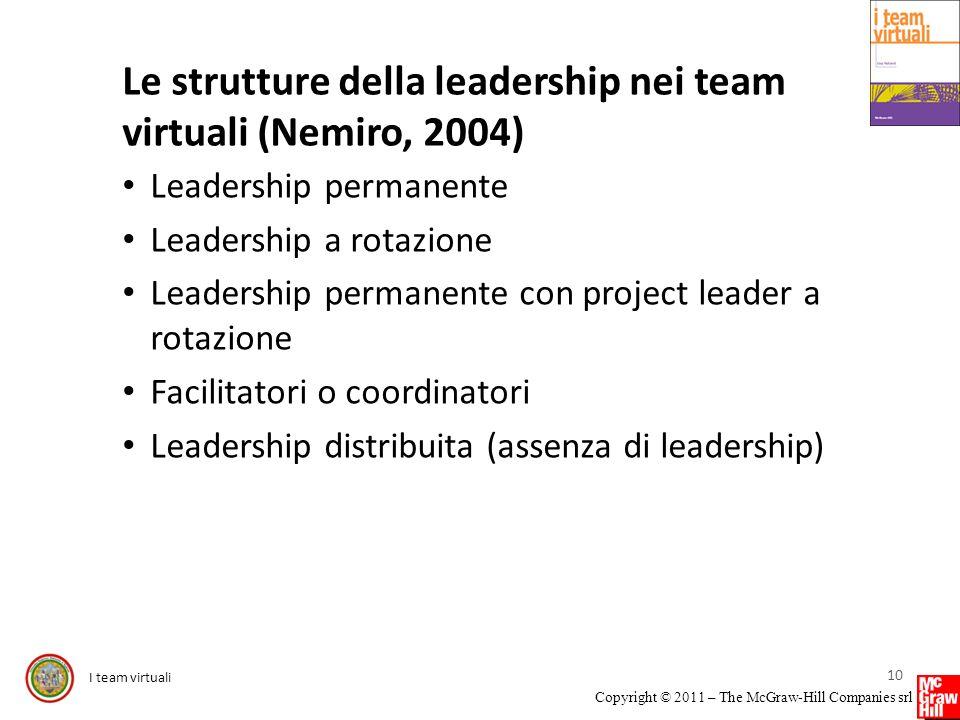 I team virtuali Copyright © 2011 – The McGraw-Hill Companies srl Le strutture della leadership nei team virtuali (Nemiro, 2004) Leadership permanente