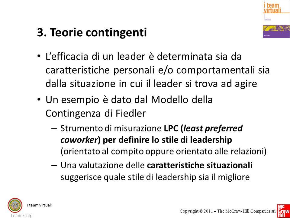 I team virtuali Copyright © 2011 – The McGraw-Hill Companies srl 3. Teorie contingenti Lefficacia di un leader è determinata sia da caratteristiche pe