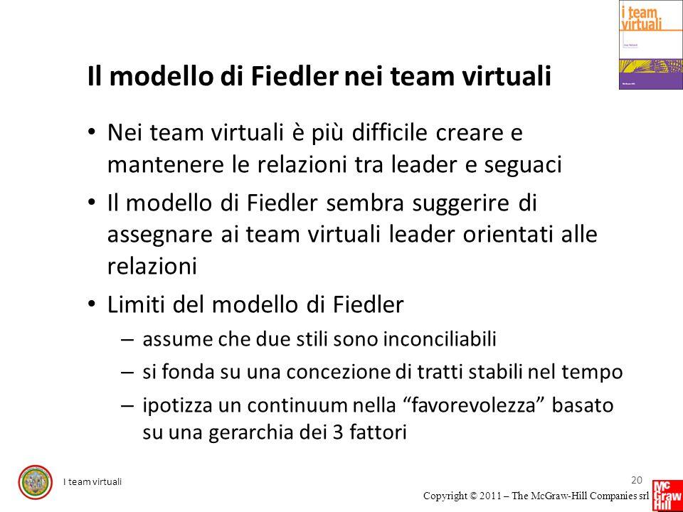 I team virtuali Copyright © 2011 – The McGraw-Hill Companies srl Il modello di Fiedler nei team virtuali Nei team virtuali è più difficile creare e ma