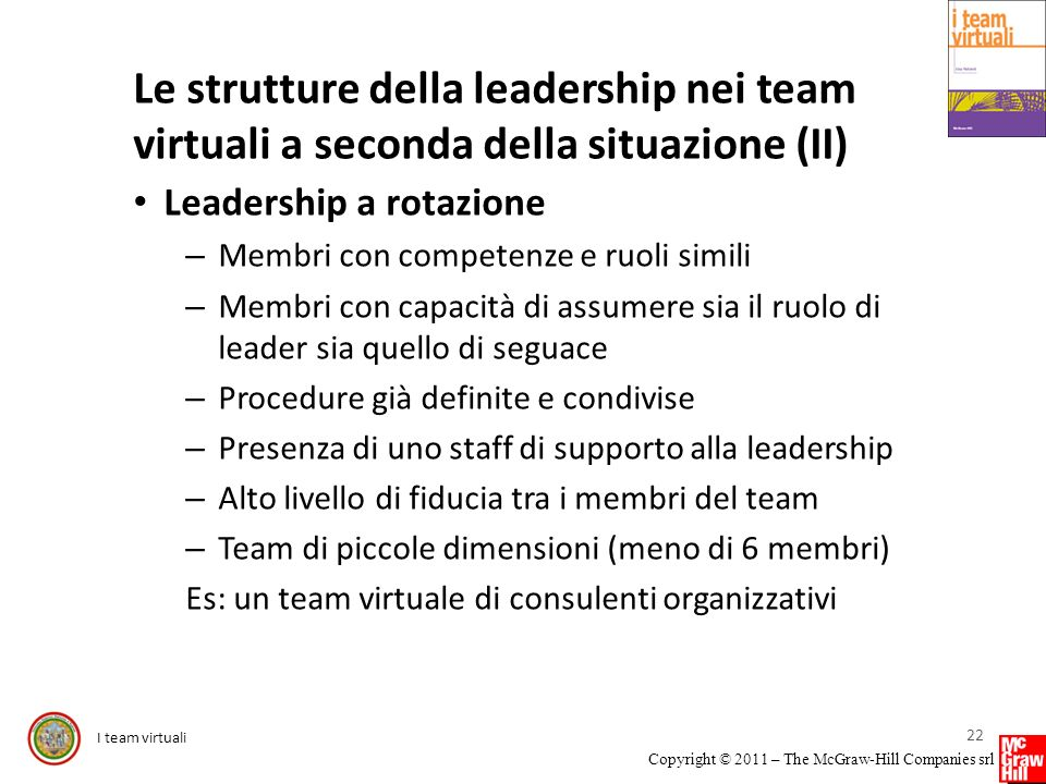 I team virtuali Copyright © 2011 – The McGraw-Hill Companies srl Le strutture della leadership nei team virtuali a seconda della situazione (II) Leade