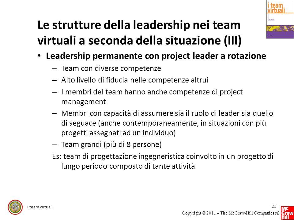 I team virtuali Copyright © 2011 – The McGraw-Hill Companies srl Le strutture della leadership nei team virtuali a seconda della situazione (III) Lead