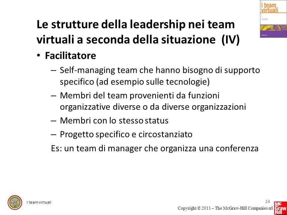 I team virtuali Copyright © 2011 – The McGraw-Hill Companies srl Le strutture della leadership nei team virtuali a seconda della situazione (IV) Facil