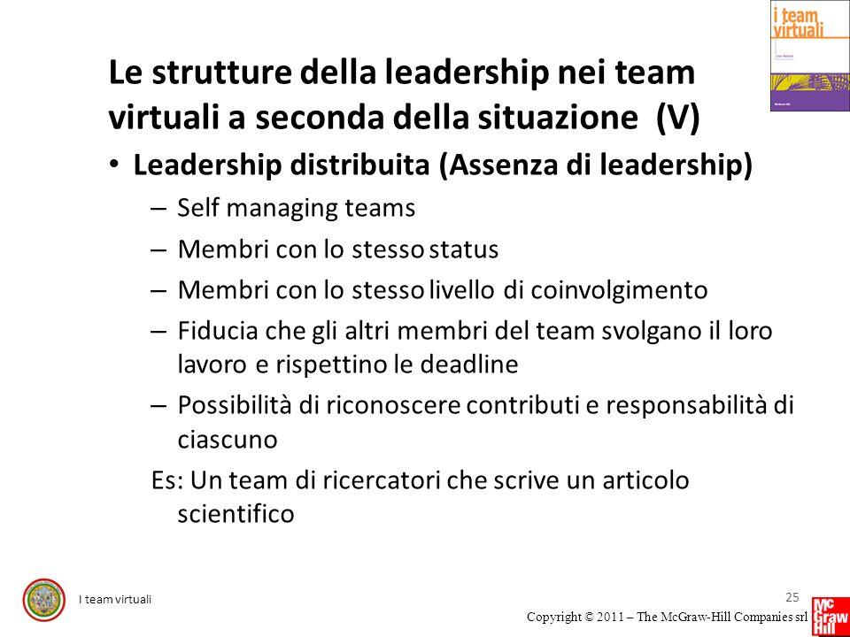 I team virtuali Copyright © 2011 – The McGraw-Hill Companies srl Le strutture della leadership nei team virtuali a seconda della situazione (V) Leader