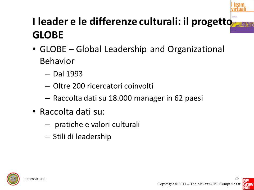 I team virtuali Copyright © 2011 – The McGraw-Hill Companies srl I leader e le differenze culturali: il progetto GLOBE GLOBE – Global Leadership and O