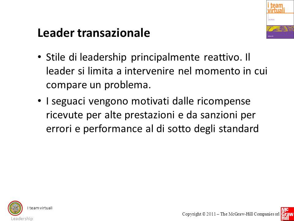 I team virtuali Copyright © 2011 – The McGraw-Hill Companies srl Leader transazionale Stile di leadership principalmente reattivo. Il leader si limita
