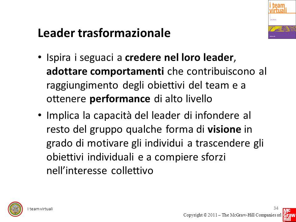 I team virtuali Copyright © 2011 – The McGraw-Hill Companies srl Leader trasformazionale Ispira i seguaci a credere nel loro leader, adottare comporta