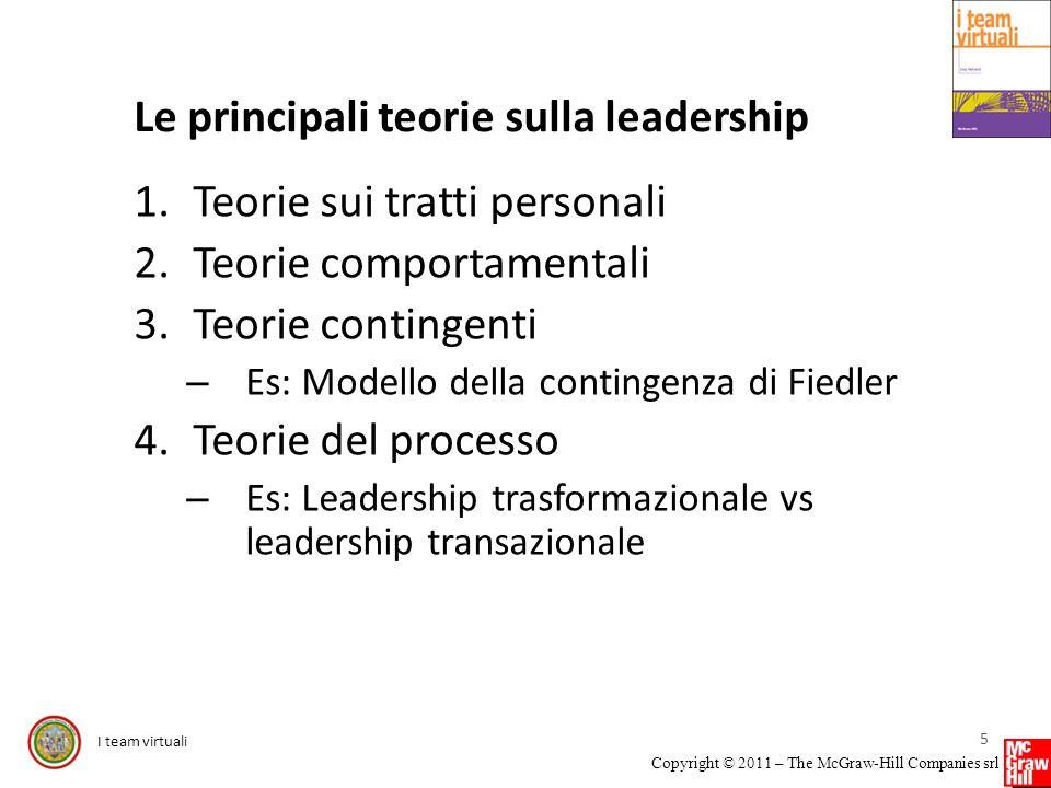 I team virtuali Copyright © 2011 – The McGraw-Hill Companies srl Le principali teorie sulla leadership 1.Teorie sui tratti personali 2.Teorie comporta