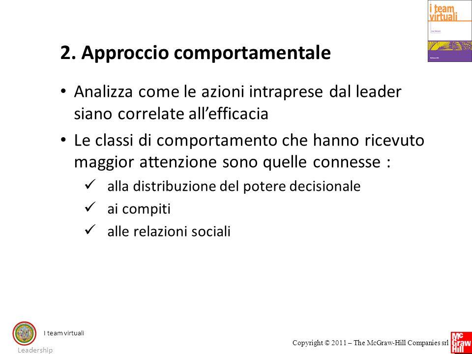 I team virtuali Copyright © 2011 – The McGraw-Hill Companies srl 2. Approccio comportamentale Analizza come le azioni intraprese dal leader siano corr