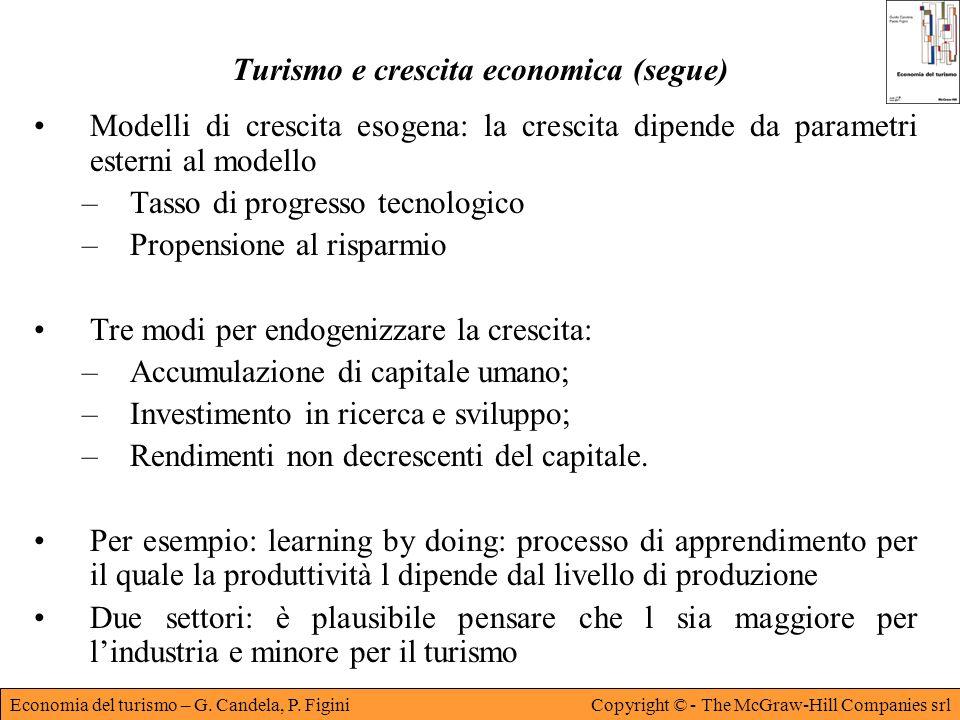 Economia del turismo – G. Candela, P. FiginiCopyright © - The McGraw-Hill Companies srl Turismo e crescita economica (segue) Modelli di crescita esoge