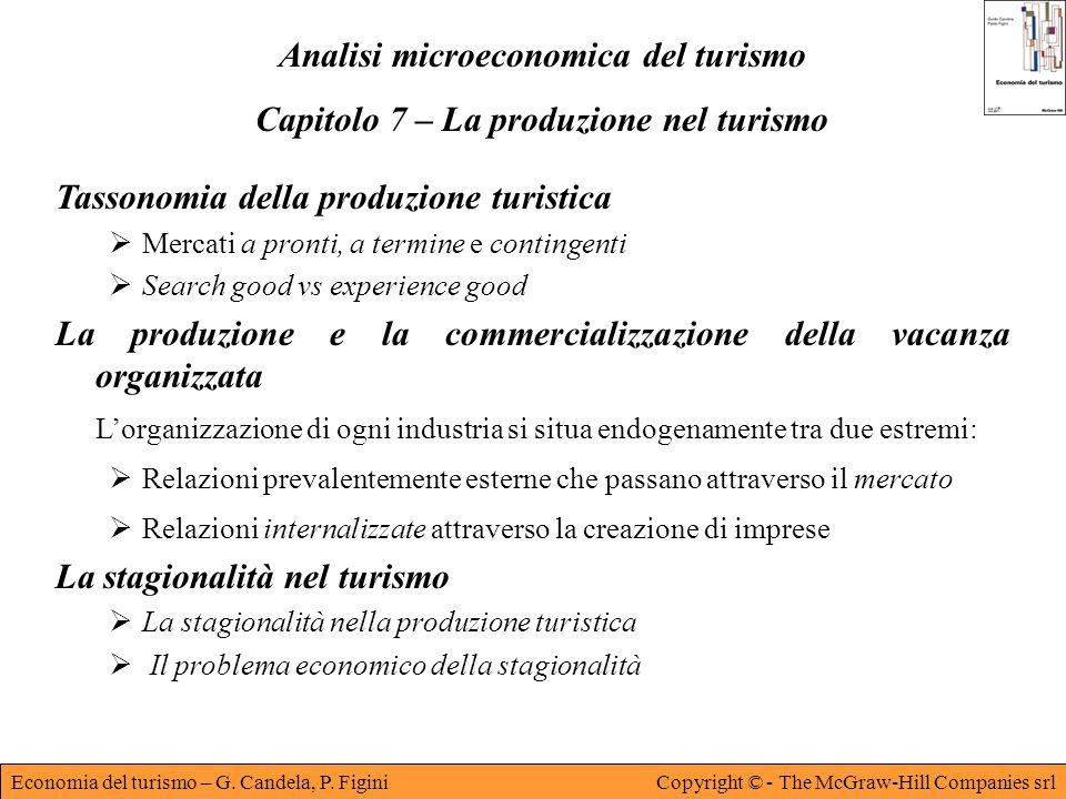Economia del turismo – G. Candela, P. FiginiCopyright © - The McGraw-Hill Companies srl Analisi microeconomica del turismo Capitolo 7 – La produzione