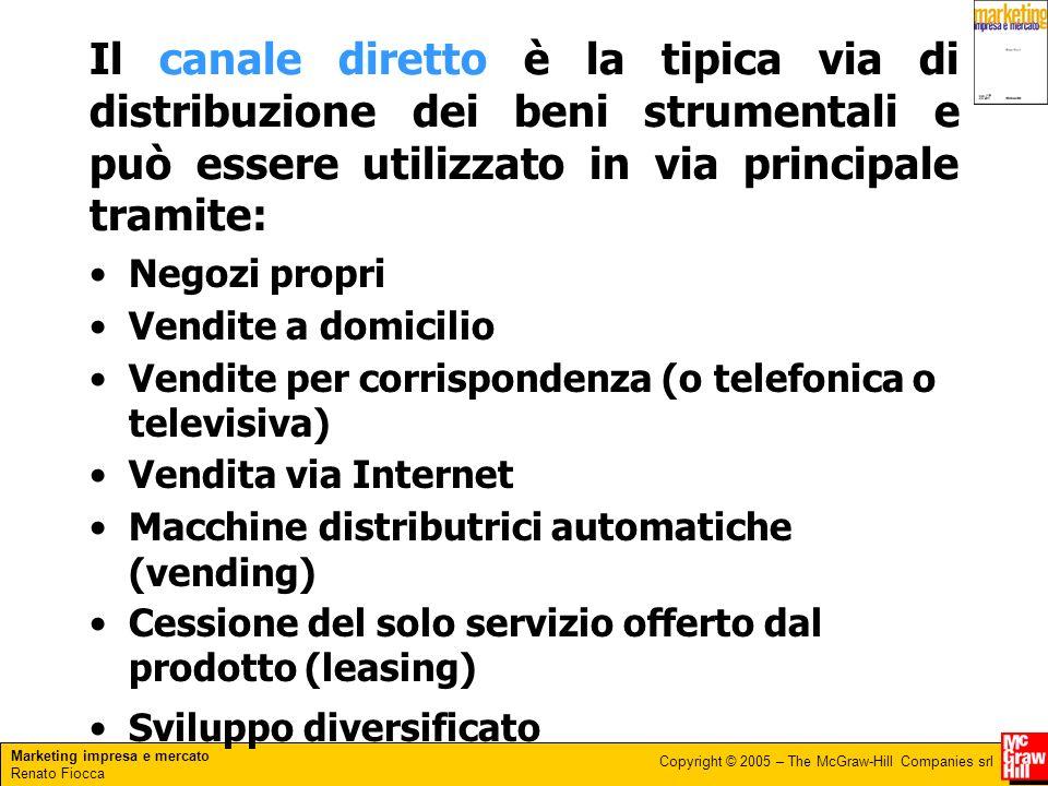 Marketing impresa e mercato Renato Fiocca Copyright © 2005 – The McGraw-Hill Companies srl Il canale diretto è la tipica via di distribuzione dei beni