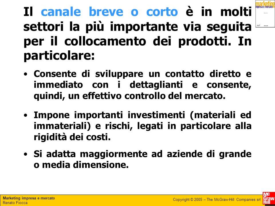 Marketing impresa e mercato Renato Fiocca Copyright © 2005 – The McGraw-Hill Companies srl Il canale breve o corto è in molti settori la più important