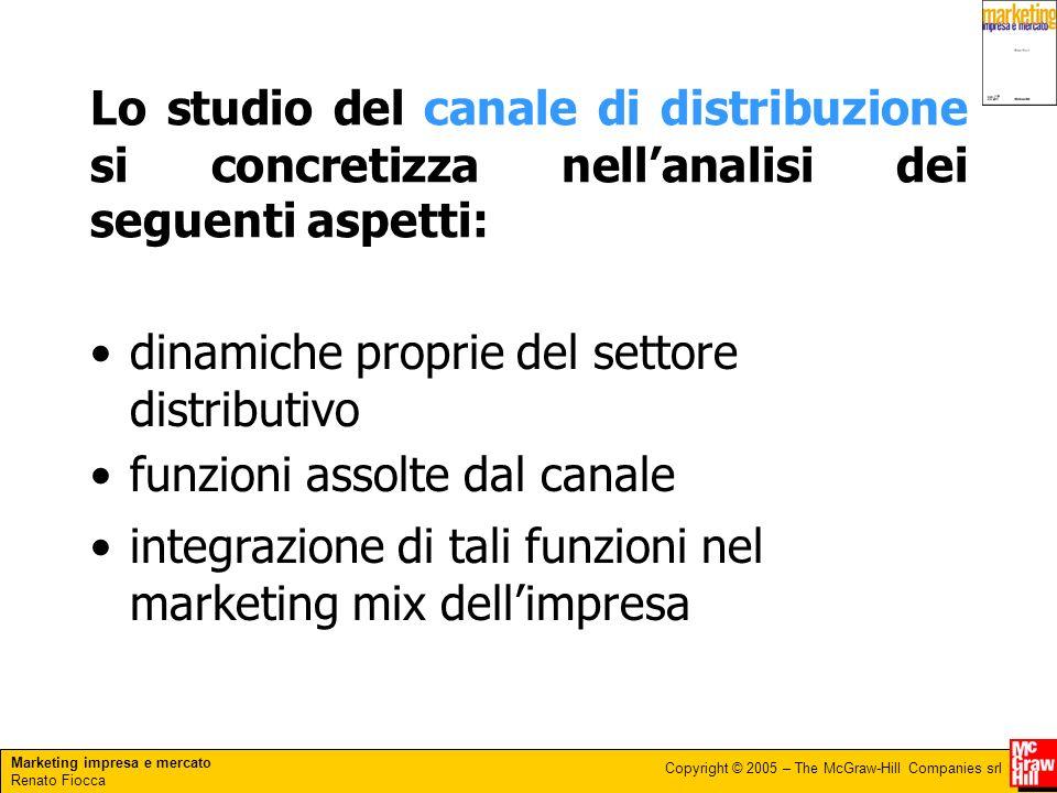 Marketing impresa e mercato Renato Fiocca Copyright © 2005 – The McGraw-Hill Companies srl Lo studio del canale di distribuzione si concretizza nellan