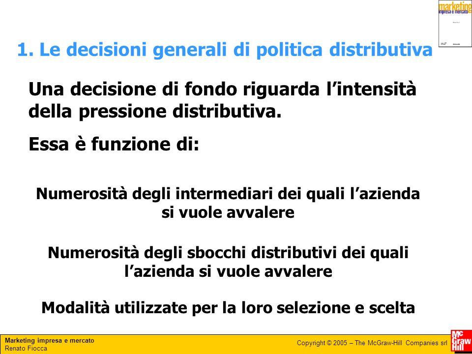 Marketing impresa e mercato Renato Fiocca Copyright © 2005 – The McGraw-Hill Companies srl 1. Le decisioni generali di politica distributiva Una decis