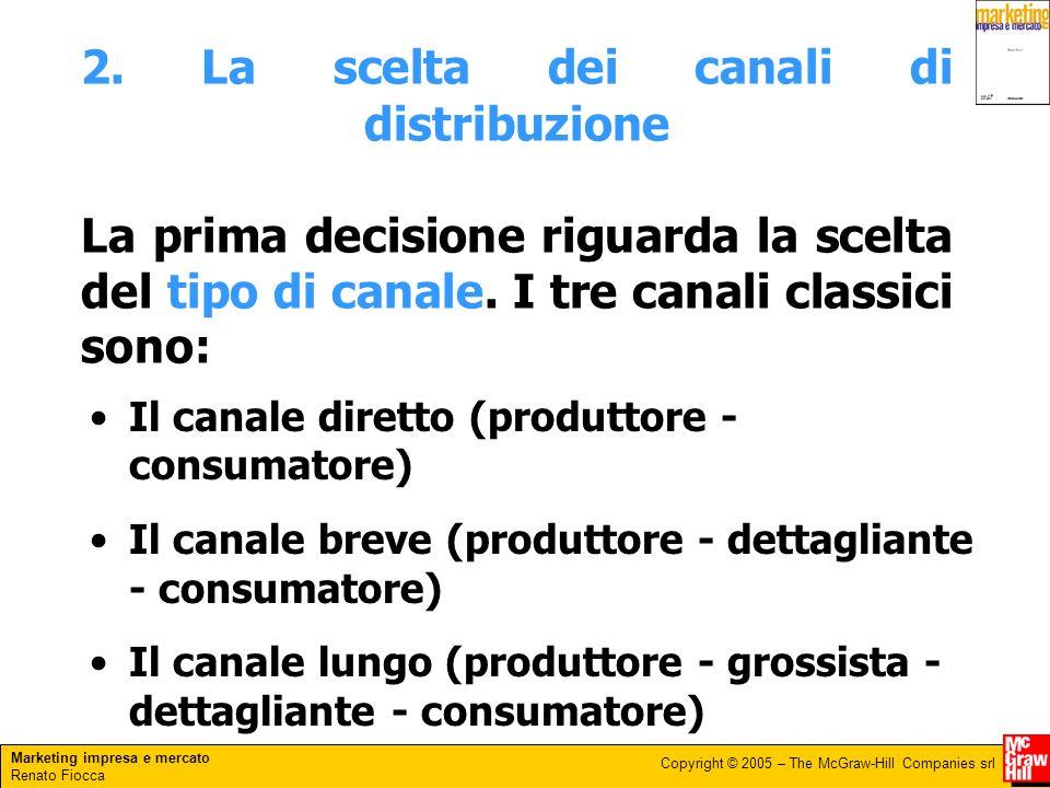 Marketing impresa e mercato Renato Fiocca Copyright © 2005 – The McGraw-Hill Companies srl 2. La scelta dei canali di distribuzione La prima decisione