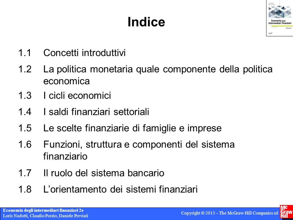 Economia degli intermediari finanziari 2e Loris Nadotti, Claudio Porzio, Daniele Previati Copyright © 2013 – The McGraw-Hill Companies srl Indice 1.1C