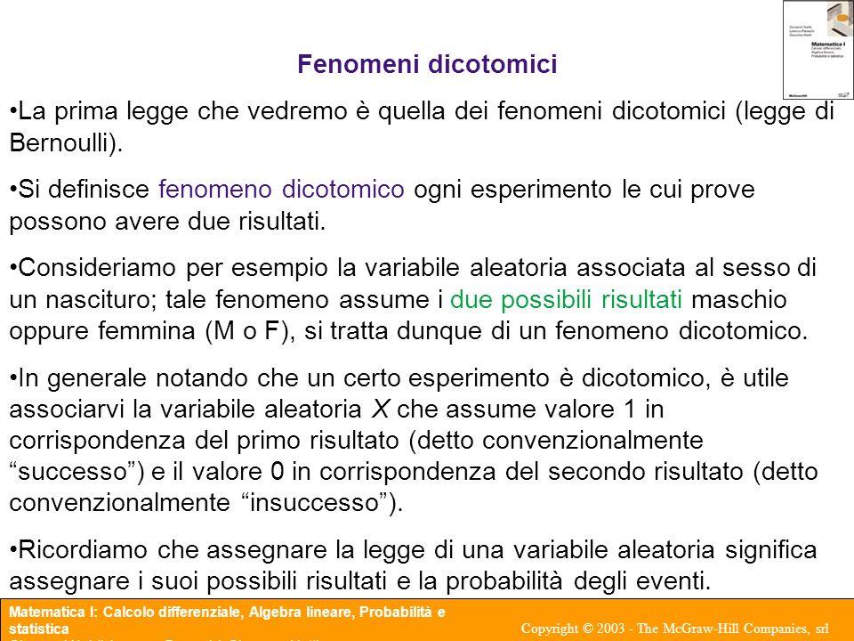 Matematica I: Calcolo differenziale, Algebra lineare, Probabilità e statistica Giovanni Naldi, Lorenzo Pareschi, Giacomo Aletti Copyright © 2003 - The McGraw-Hill Companies, srl Fenomeni dicotomici La prima legge che vedremo è quella dei fenomeni dicotomici (legge di Bernoulli).
