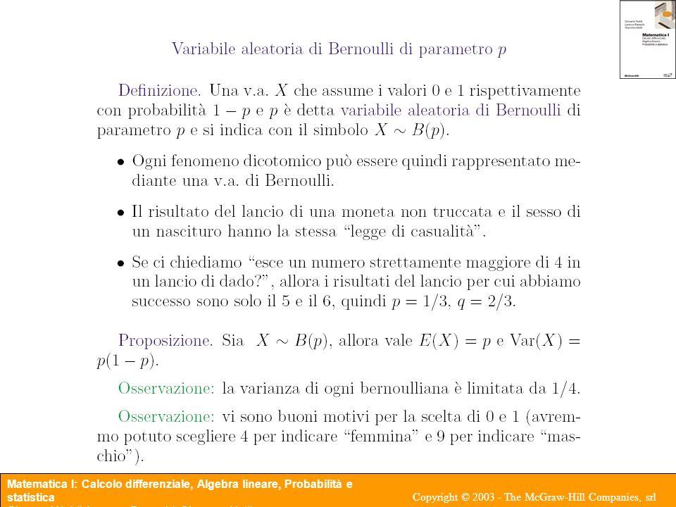 Matematica I: Calcolo differenziale, Algebra lineare, Probabilità e statistica Giovanni Naldi, Lorenzo Pareschi, Giacomo Aletti Copyright © 2003 - The McGraw-Hill Companies, srl