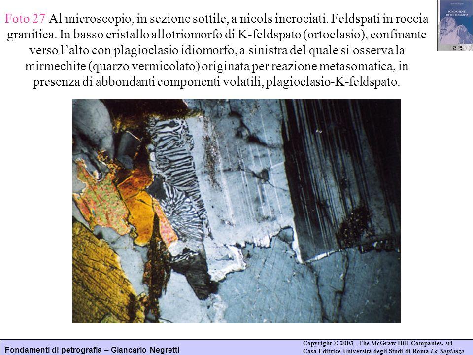 Fondamenti di petrografia – Giancarlo Negretti Copyright © 2003 - The McGraw-Hill Companies, srl Casa Editrice Università degli Studi di Roma La Sapie