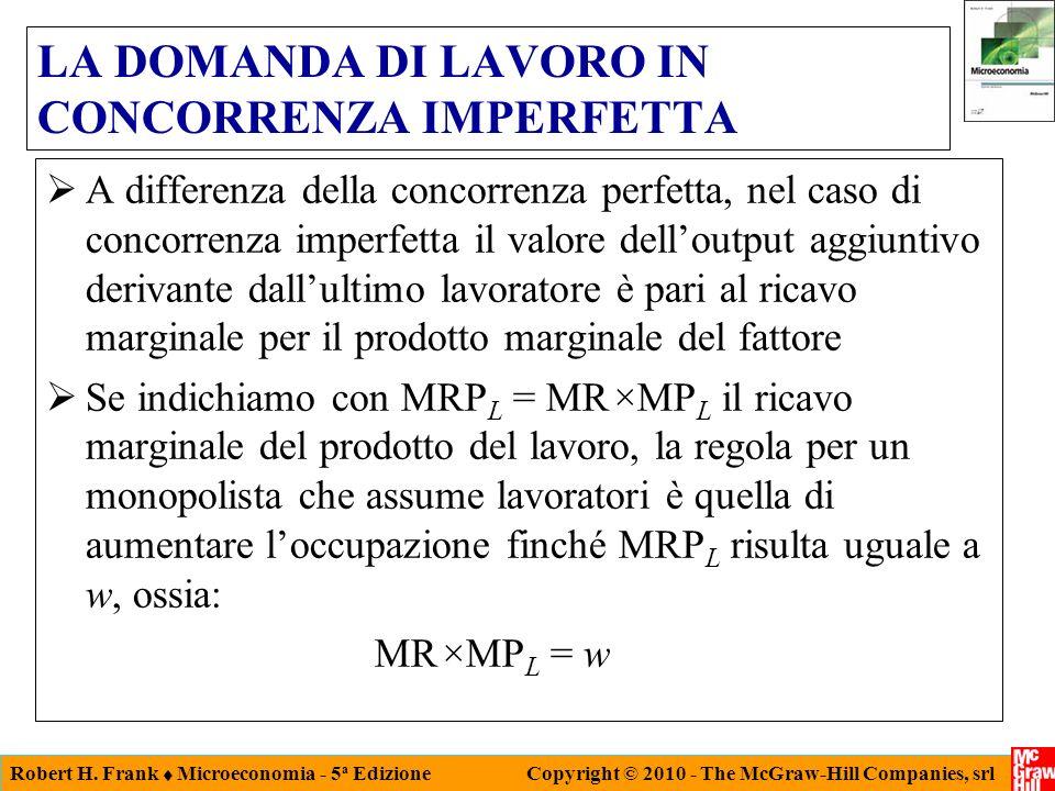 Robert H. Frank Microeconomia - 5 a Edizione Copyright © 2010 - The McGraw-Hill Companies, srl LA DOMANDA DI LAVORO IN CONCORRENZA IMPERFETTA A differ