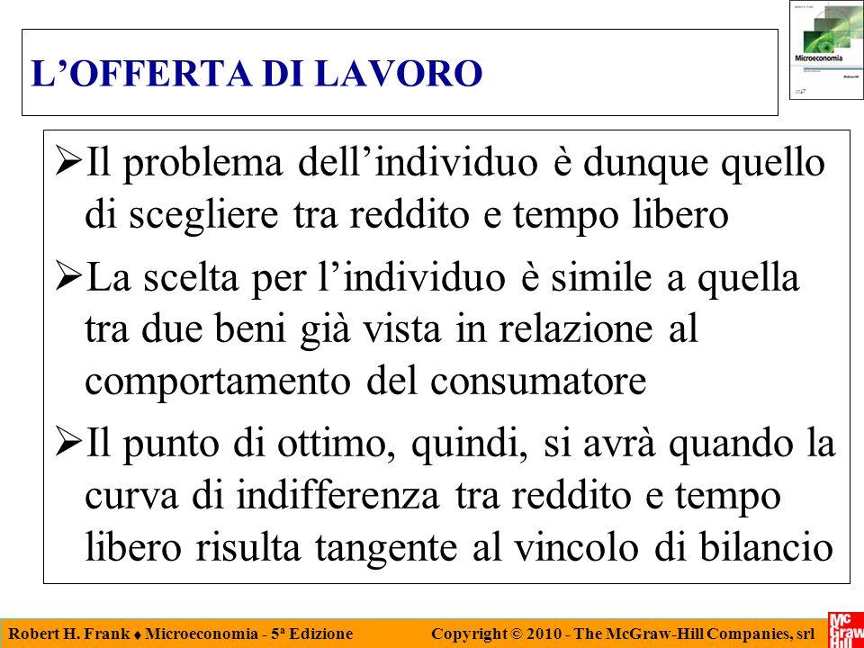 Robert H. Frank Microeconomia - 5 a Edizione Copyright © 2010 - The McGraw-Hill Companies, srl LOFFERTA DI LAVORO Il problema dellindividuo è dunque q
