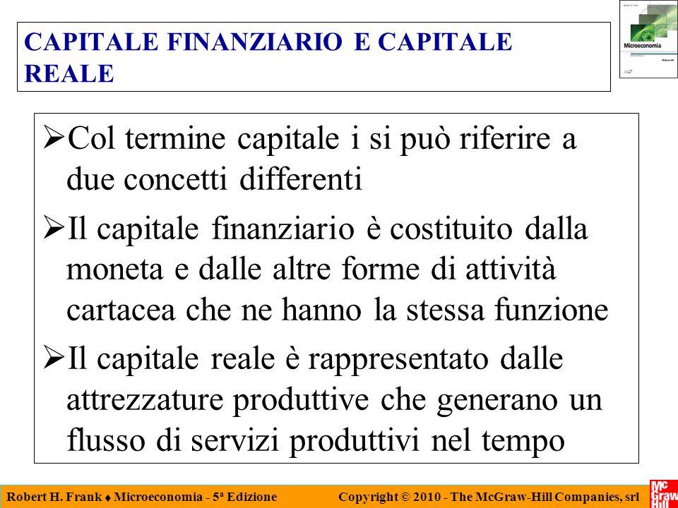 Robert H. Frank Microeconomia - 5 a Edizione Copyright © 2010 - The McGraw-Hill Companies, srl CAPITALE FINANZIARIO E CAPITALE REALE Col termine capit