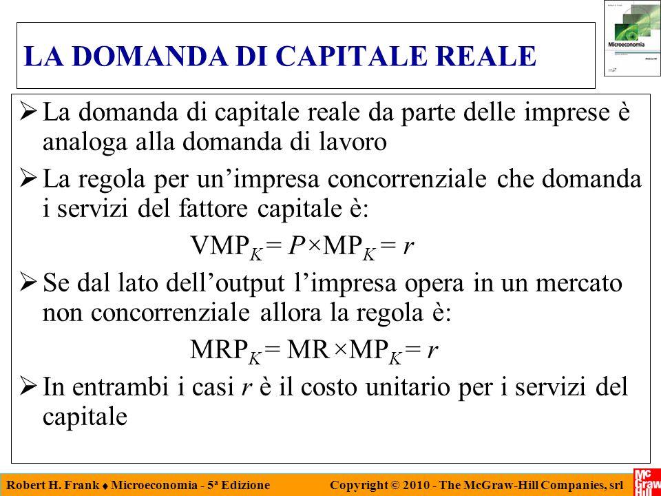 Robert H. Frank Microeconomia - 5 a Edizione Copyright © 2010 - The McGraw-Hill Companies, srl LA DOMANDA DI CAPITALE REALE La domanda di capitale rea