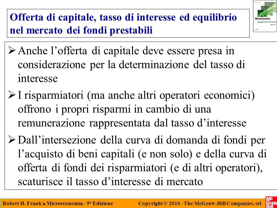 Robert H. Frank Microeconomia - 5 a Edizione Copyright © 2010 - The McGraw-Hill Companies, srl Offerta di capitale, tasso di interesse ed equilibrio n
