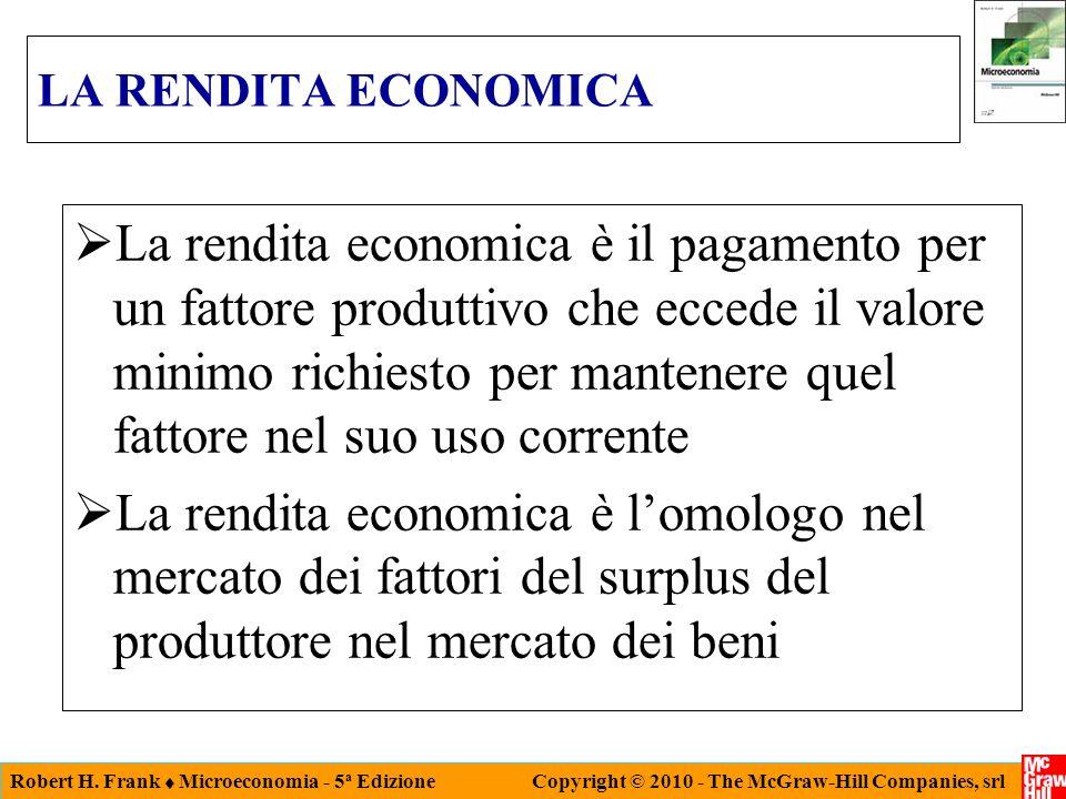 Robert H. Frank Microeconomia - 5 a Edizione Copyright © 2010 - The McGraw-Hill Companies, srl LA RENDITA ECONOMICA La rendita economica è il pagament
