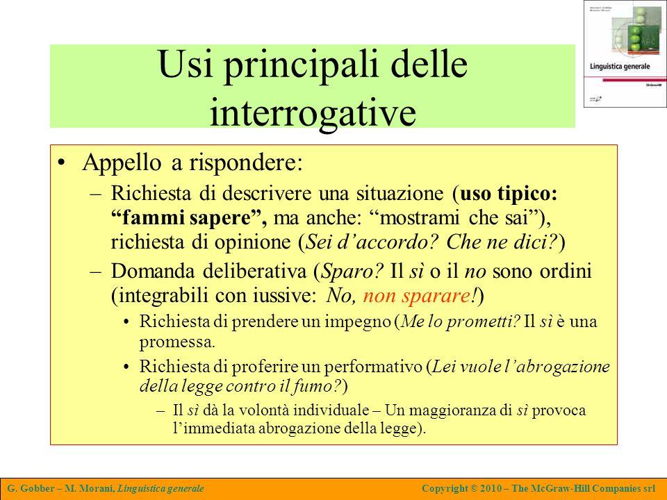 G. Gobber – M. Morani, Linguistica generaleCopyright © 2010 – The McGraw-Hill Companies srl Usi principali delle interrogative Appello a rispondere: –