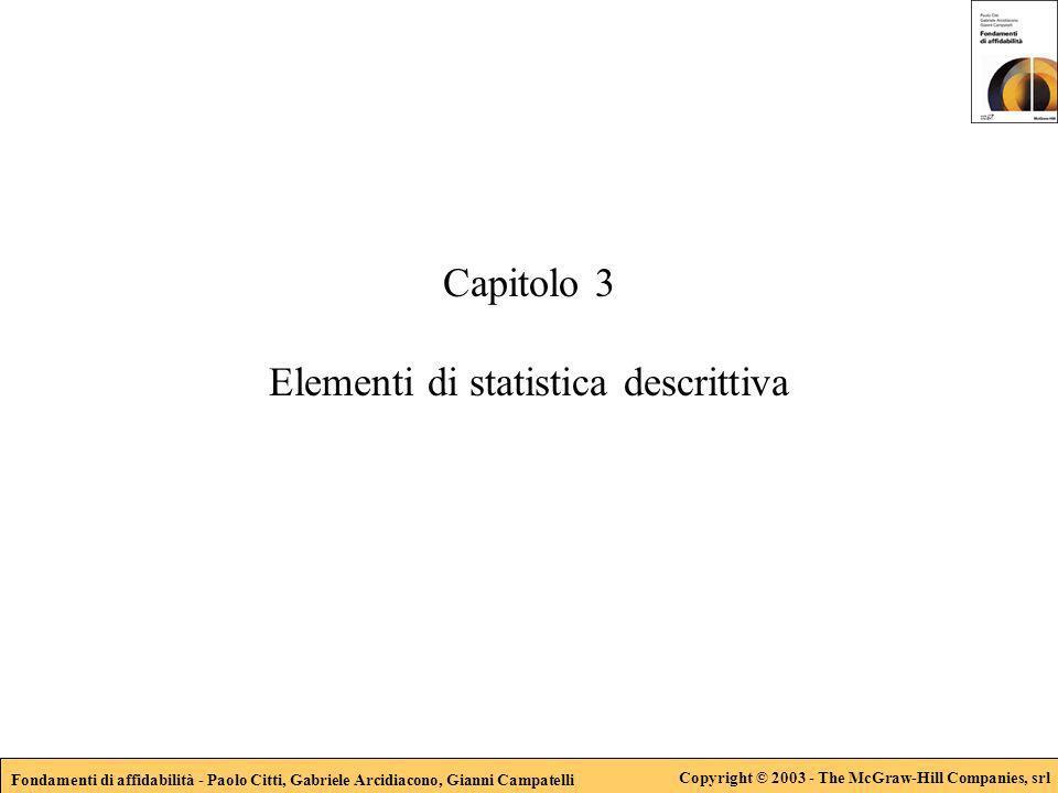 Fondamenti di affidabilità - Paolo Citti, Gabriele Arcidiacono, Gianni Campatelli Copyright © 2003 - The McGraw-Hill Companies, srl Capitolo 3 Element